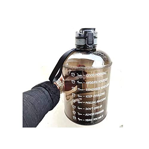 Botella de Agua Motivacional de Galón de Boca Ancha con Marcador de Tiempo/Tapa Abatible a Prueba de Fugas/Apertura con un Clic/Sin BPA para Objetivos de Fitness,Black