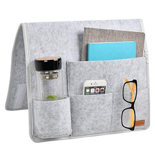Nachttisch-Organizer Filz Nachttischtasche, Sofa Nachttisch-Aufbewahrungstasche mit Wasserflaschenhalter für Zuhause Bettgeländer, Sofa, Sortieren Magazin, iPad, Kopfhörer, Fernbedienung, Brille(Grau)