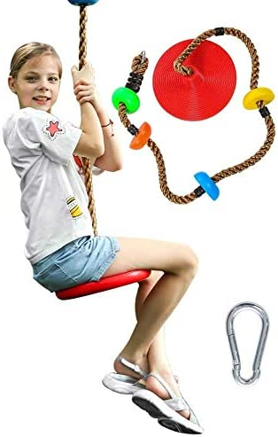 MoloTAR Tree Climbing Rope with Platforms and Kids Disc Swing Seat Set Outdoor Backyard Playground product image