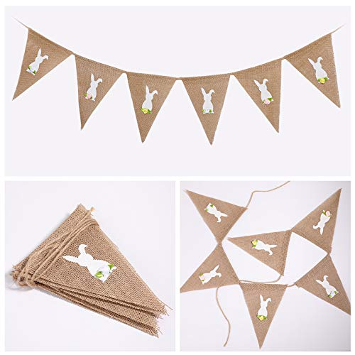 Easter Bunny Triangle Flag Handmade Flowers Tail Hanging Burlap Banner Decoration for Home Decoration of Easter Birthday Parties