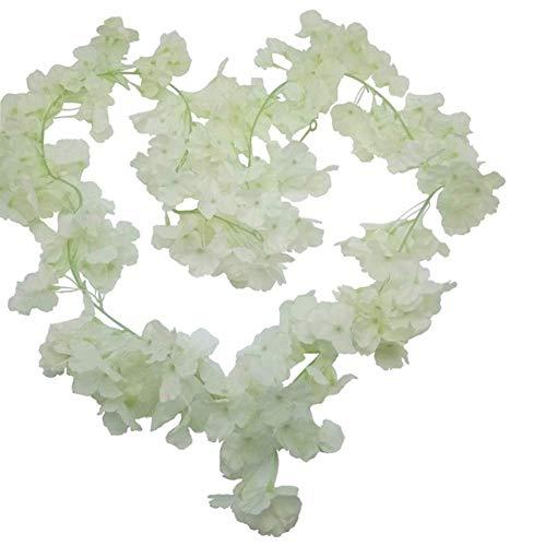 Daliuing 2PCS Artificial Cherry Rattan Silk Garland Vine Plant Flower Leaves (1.8M) Perfect for Wall Decoration, Wedding, Bridal,Christmas