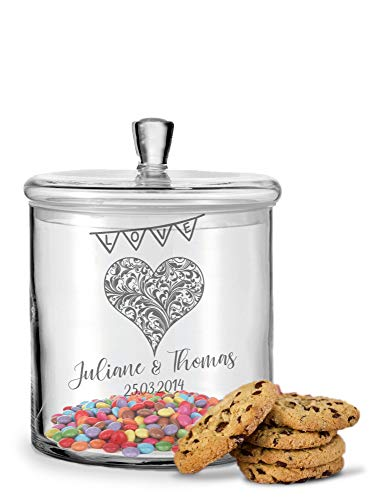 GRAVURZEILE Leonardo Keksglas mit Gravur - Keksdose Bonbonglas mit Deckel - Vorratsdose personalisiert mit Namen & Datum - Geschenk für Paare, zur Hochzeit als Geldgeschenk Farbe Herz