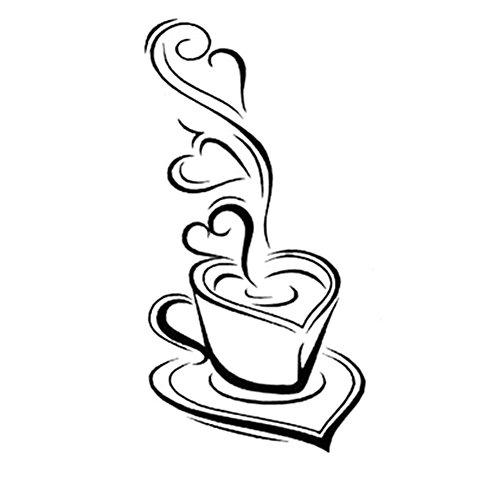 Cosanter Wandtattoo Kaffeetasse mit Herz Küche Café Esszimmer Und Restaurant