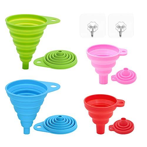 SENDR.KR Trichtersatzt Faltbarer Trichter, Silikontrichter für Küche und Haushalt Wasserflaschen Ölflüssigkeiten und Pulver, Lebensmittelecht, 4er-Pack (2 Große + 2 Kleine + 2 Haken)