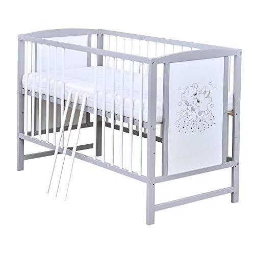 Baby Delux Babybett Kinderbett Gitterbett Bärchen 120x60 Weiß Grau mit Matratze