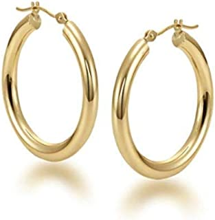 14K Gold Hoop Earrings, 14K Yellow Gold 2MM 3MM Round Hoop Hinged Earrings,Gold Tube Hoop Earring