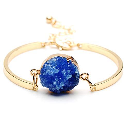 CXKArmband Mode Naturstein Perlen Druzy Armreifen Für Frauen Partei Schmuck Gold Farbe Quarz Kristall Charme Manschette Armband, F7322