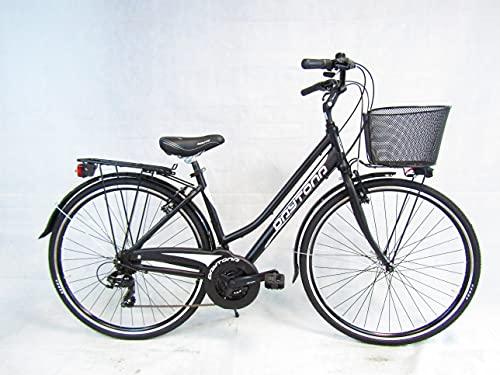 bicicletta donna bici da passeggio city bike 28 trekking alluminio 21 velocita' Daytona (nero)