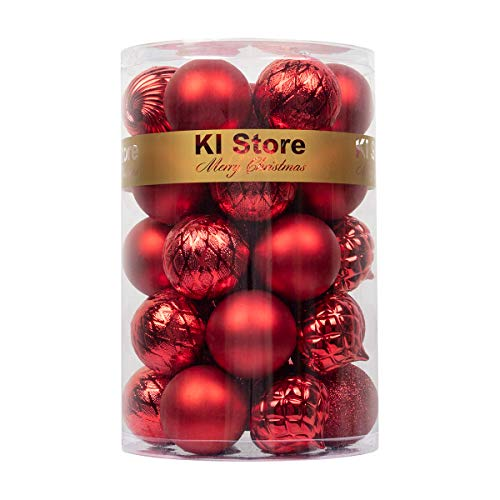 KI Store Christmas Balls Red Shatterproof Christmas Tree Ball Ornaments Decorations for Xmas Trees Wedding Party Home Decor 2.36-Inch Hooks Included