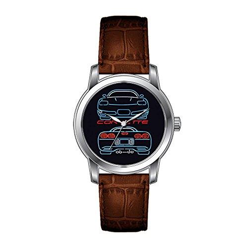 JLS Kreative Uhren Herren Vintage Design Leder Braun Band Armbanduhr Corvette Uhr