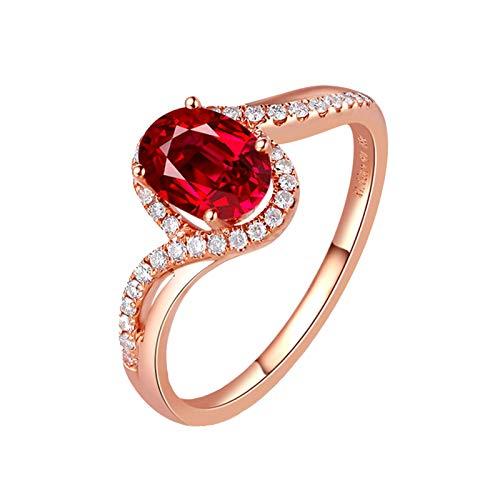 Bishilin Anillos de Oro Rosa 750 Anillo de Bodas de 18K Rojo Rubí Diamante Aniversario de Las Bandas de Anillos de Compromiso Forma Ovalada Aniversario Bandas de Anillo de Compromiso Rojo