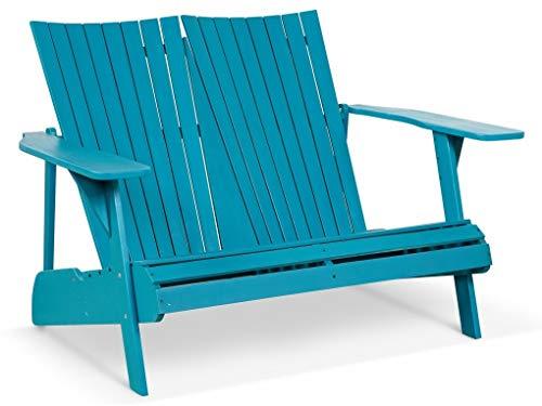 LANTERFANT – Gartenbank Fred, Adirondack, Gartenmöbel, Parkbank, Akazien Holz, Lackiert, Erhältlich in Zwei Farben, Petrol, Blau