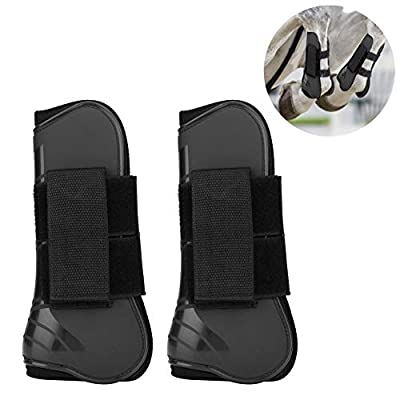 HEEPDD 1 Pair Horse Support Boots, PU Secure Leg Protection Horse Tendon Boots Breathable Wrap Less Sweat and Rubs Equestrian Equipment