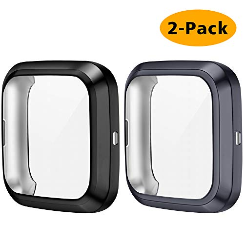 CAVN 2 Packs Case Compatible with Fitbit Versa 2 Screen Protector, Full Coverage Soft TPU Protective Screen Cover Saver Bumper Frame Accessories for Versa 2 Smartwatch Only (Black/Charcoal)