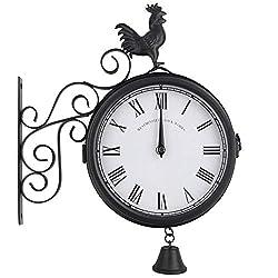 N /A Wall Clock Outdoor Garden Wall Station Clock Double Sided Cockerel Vintage Retro Home Decor