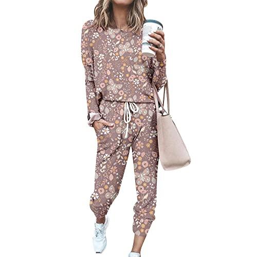 FANSU Chándal Conjunto Mujer Manga Larga, Casual Mariposa Impresión Conjuntos Deportivos Completo Pijamas Trajes 2 Piezas Ropa de Casa Sweatshirt + Pantalones Set Talla Grande