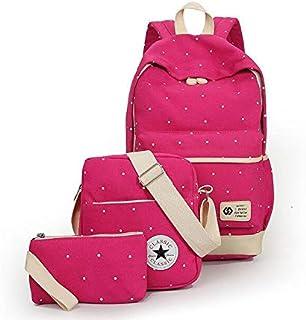 Canvas dot three pieces sets packbag fashion shoulder bag school bag junior SB06 rose red