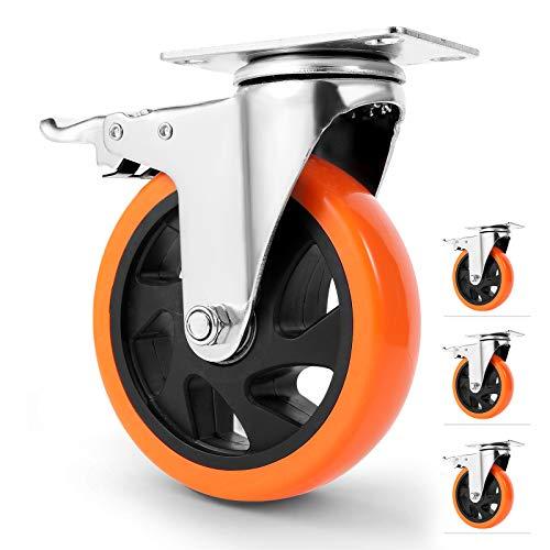WBD WEIBIDA 5' Swivel Caster Wheels with Dual Locking, Heavy Duty of 1400lbs, Premium Polyurethane...
