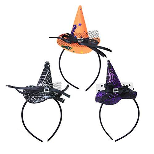 3 Stks Halloween Hoofdband Mini Heks Hoed Hoofddeksels voor Kinderen (Orange, Zwart, Zilver)