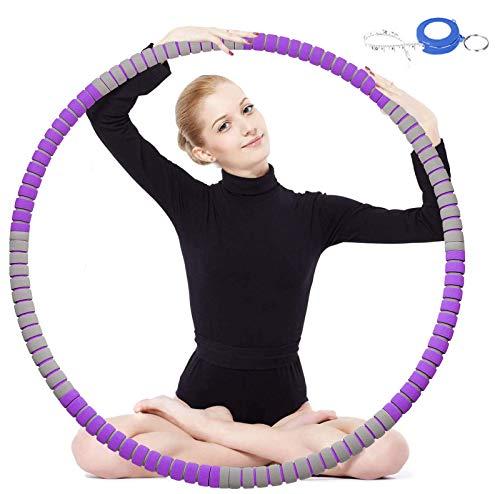 Hoola-Fitness-Hooop, Gewichtsverlust, schneller Gewichtsverlust, mit Spaß beim Training, Fettverbrennung, gesundes Modell, abnehmbares und größenverstellbares Design (Lila-Grau)