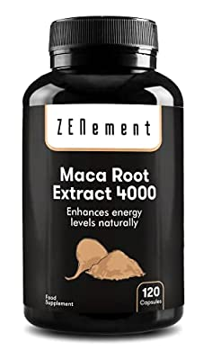 Maca Root Extract, Highly Concentrated 4000mg, 120 Capsules, for energy, stamina, athletic performance, memory, libido, immune system and hormone imbalance | 100% Natural, Vegan, Non-GMO, Gluten Free