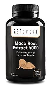 Extracto de Raíz de Maca Peruana 4000 mg Altamente concentrado, 120 Cápsulas | Energía, resistencia, memoria, líbido, inmunidad y equilibrio hormonal | 100% Ingredientes Naturales, No-GMO