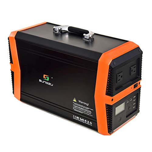 1000 Watt Solar Generators Portable Power Station, 1010Wh Emergency Lithium Battery Backup Power Supply Peak 2000W with 2 110V AC Outlet, 2 DC, 4 USB for Camping, Home, Outdoor, Emergency 1000W Generators SUNGZU