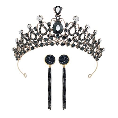 PIXNOR 3 Piezas de Corona Y Pendiente de Cristal para Boda Corona de Diamantes de Imitación Tiara Pendiente Princesa Disfraz Tocado Diadema Accesorios para El Cabello