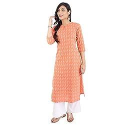 Meen Orange Kantha work straight kurta