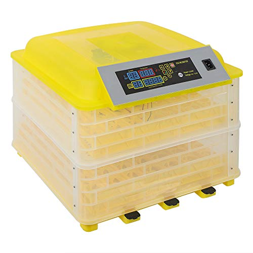 Egg Incubator, 48/56/96/112 Digital Egg Incubator with Temperature Control and Auto Turning, LCD Display Controller (96 Eggs)