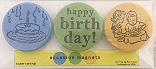 Tree by Kerri Lee Vintage Style Happy Birthday Wooden Magnets (Green)