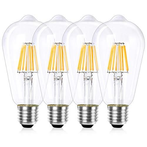 Wedna Lampadine di Filamento a LED, 7W E27 Dimmerabile ST64 Edison Vintage lampadina, Luce Bianca Calda 2700K, equivalenti a 60W, 700lm, Vetro trasparente - 4 Pezzi