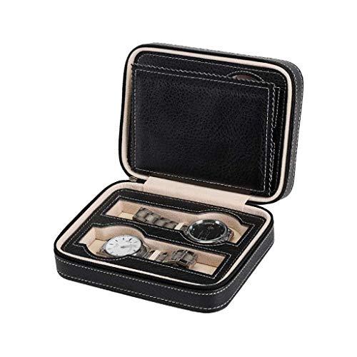 Betty & Co Geschenk Tragbare Watch Box mit 4 Fächern, Reise-Uhr-Kasten, Kunstleder-Uhr-Kasten mit Reißverschluss