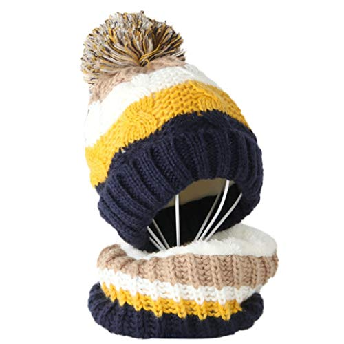 ZYSWP MZWJTZKD Kids Winter Cable Knit Beanie Hat Hat Bufanda Set Pompom Stripes Pull Alineada Cráneo Cap (Color : Deep Gray)