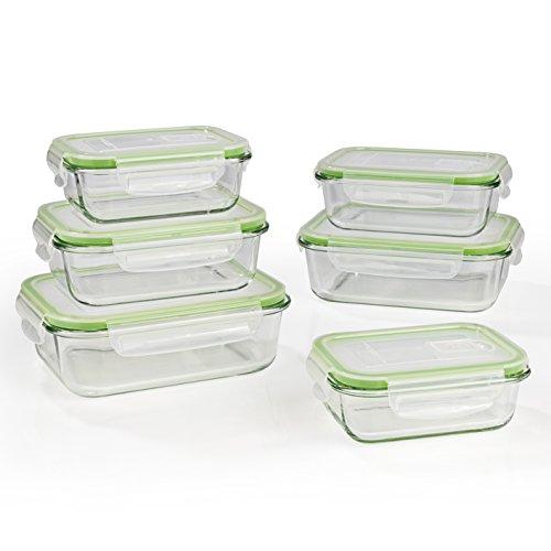 GOURMETmaxx Glas-Frischhaltedosen Klick-it 12 tlg. | Spülmaschinen- Mikrowellen- und Gefrierschrankgeeignet | Deckel BPA-frei mit Silikon Dichtungsring und 4-fach-Klick-Verschluss [limegreen]