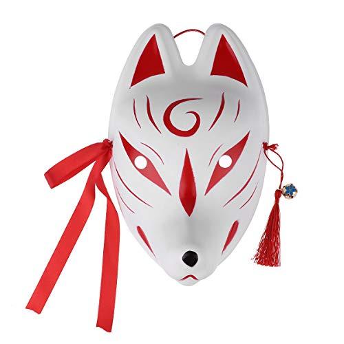 IEFIEL Máscara de zorro De PVC Para Carnaval Halloween Fiesta/Cara pintada a mano con borlas y campanitas para fiesta de disfraces Kabuki Kitsune Rojo B Talla Única
