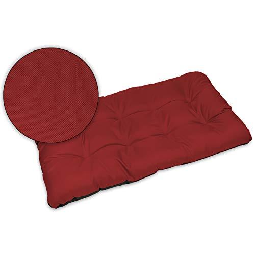 SuperKissen24 Cojín para Palet Sofá Banco 120x80 cm Asiento Cómodo e Impermeable para Muebles Terazza Exterior - Rojo Oscuro