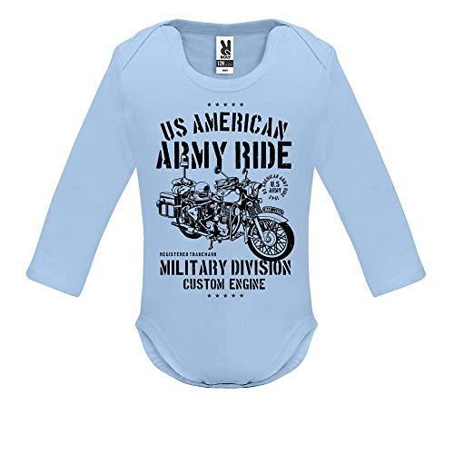 LookMyKase Body bébé - Manche Longue - Army Ride - Bébé Garçon - Bleu - 18MOIS