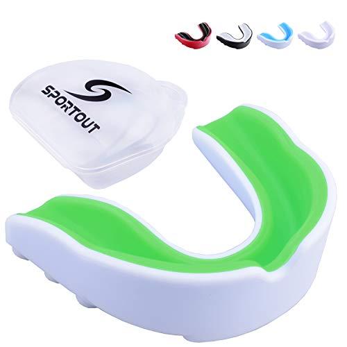 Sportout Protector bucal para deportes con funda transparente, perfecto para karate, lacrosse, hockey, fútbol (verde y blanco, talla 1 – (6 a 12 años)