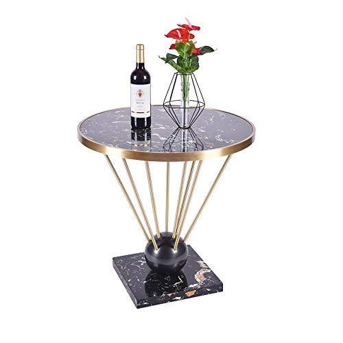 HYY-YY Lado individual del metal, mesa redonda pequeña de la sala de estar del hotel del apartamento nórdico, mesa de centro redonda creativa pequeña