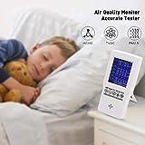 PAKASEPT Medidor de calidad de aire formaldehído (HCHO) dispositivo de prueba para polvo fino PM2.5/PM 10 TVOC monitor AQI multi analizador de gas para casas de coches y al aire libre rechargeable