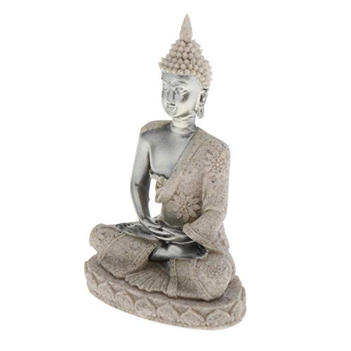 LOVIVER 4 inch Small Sitting Buddha Statue Figurine Meditating Meditation Hand Carved Sandstone Buddhism Home Car Dashboard Decoration Ornament - Silver