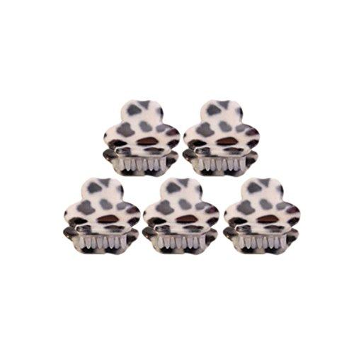 Ensemble de 5 léopard mignon Mini pince cheveux, Blanc / d'ours