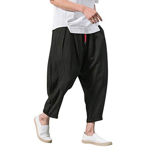 Honestyi Männer Casual Retro Solid Streetwear Drawstring Wadenlangen Hosen Haremshose B375K63 Herren Retro Volltonfarbe chinesischen Stil Nachahmung Leinen beiläufige Kurze Hose