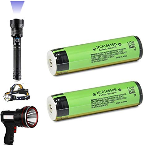 For 10000 Lumens Bright Tactical Flashlight Doorbell etc Power: NCR18650B 3400mAh 18650 Battery Rechargeable, Protected Board, Support LED flashlight 24 hours(2PCS included)