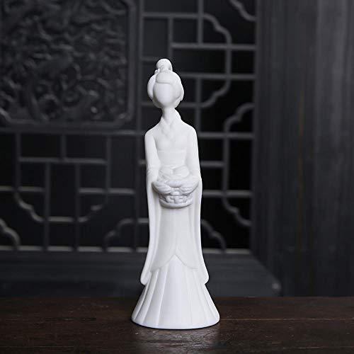Yowinlo Statuen Dekoartikel Skulpturen Figuren Damen Weiße Porzellanfiguren Antike Chinesische Zen Retro Wohnaccessoires Wohnzimmer Nachttisch Weiche Keramik-Handwerk-A