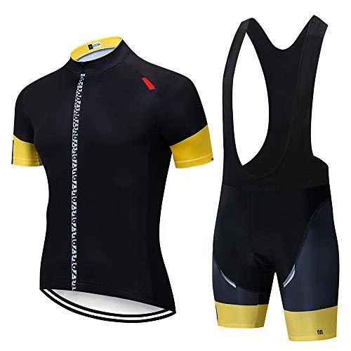 Maillot Ciclismo Verano Corto para Hombre, Ropa Culote Conjunto Traje Culotte Deportivo con 3D Almohadilla De Gel para Bicicleta Ropa Ciclista MTB Bici