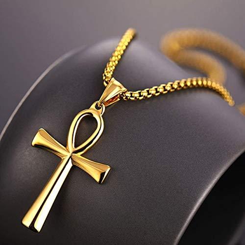BJGCWY Collares Colgantes Acero Inoxidable Símbolo de la Vida Unisex Collares Cruzados Joyas Regalos 60 cm Estilo 2 Oro