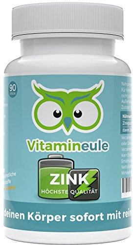 Zink Kapseln - hochdosiert - Zink Gluconat ohne künstliche Zusatzstoffe - vegan - kleine Kapseln statt große Tabletten - Qualität aus Deutschland - 100{9b93b8dc75a54646456acdd51beab4642f14b492ee1b182836d9c539a97daa26} reines, veganes Zinkgluconat - Vitamineule®