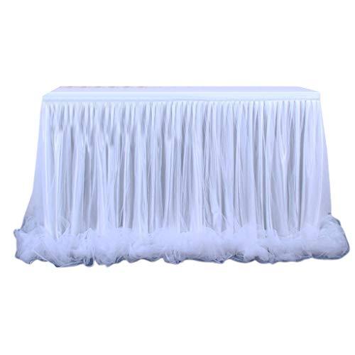 Boji - Falda de mesa de tul azul, decoración para fiestas de bebés, bodas, cumpleaños, Navidad, Candy Bar accesorios (azul, 183 cm x 76 cm)